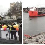 Bilder: Fest när nya guldbron anlände till Slussen