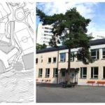 Trång skolgård på nya stora Nybohovsskolan