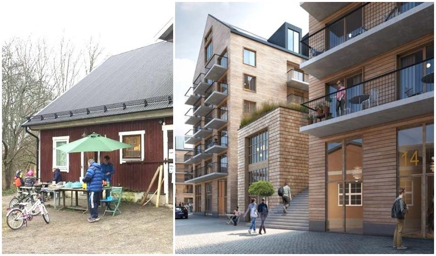 4H-gården Eolshll och skiss på nya husen Henriksberg