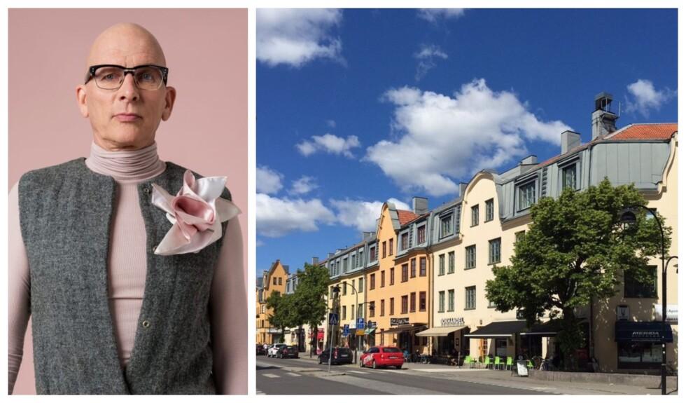 Kjell A Nordström och byggnad i Aspudden