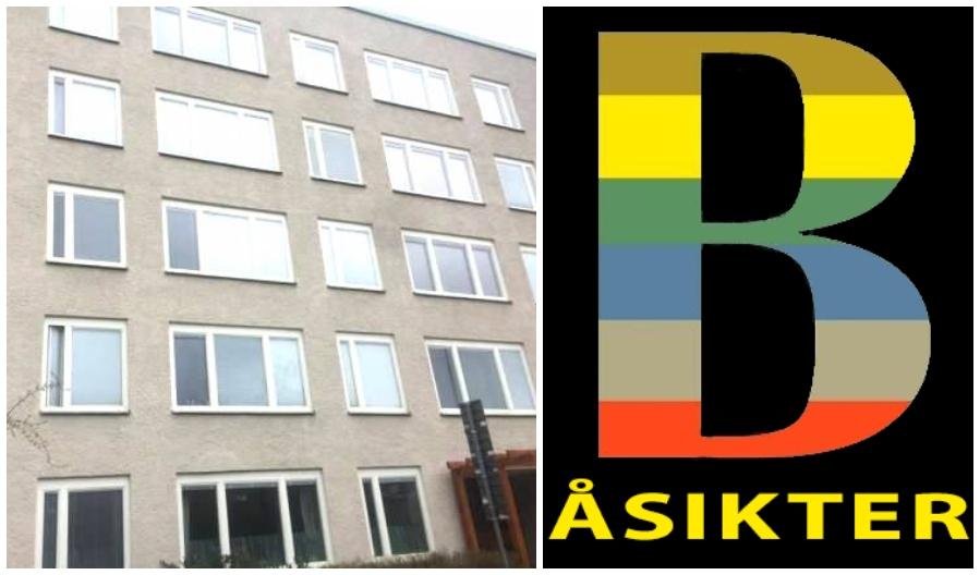 fasad på flerfamiljshus och symbol för Åsikter