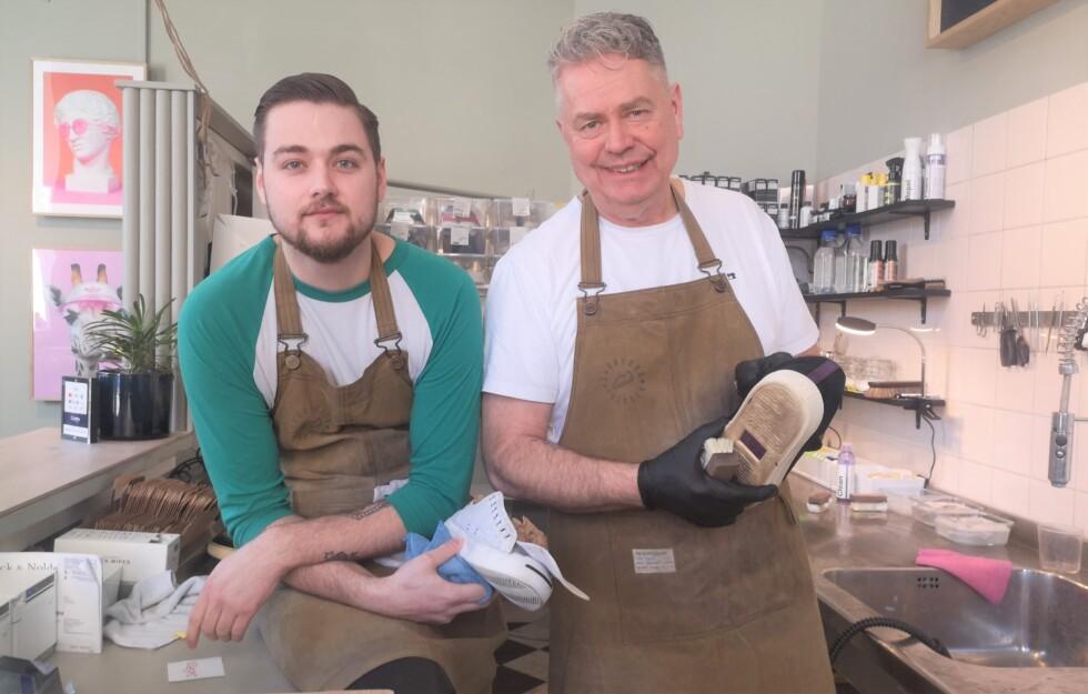 Jens Wallin och hans son Oscar Wallin har öppnat Sneackerstvätten på Hornsgatan,