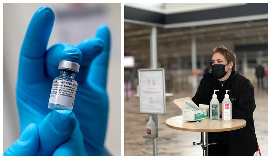 Covid-vaccin i liten flaska - vaccinmmotagare