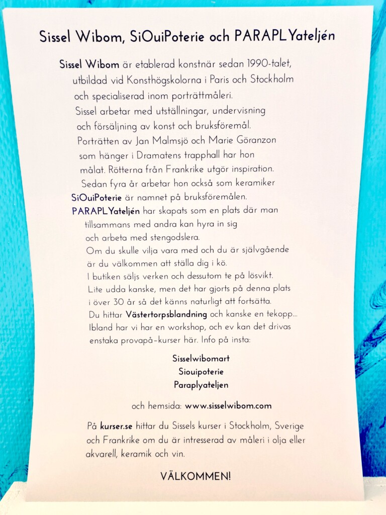 Information om konstnären Sissel Wibom