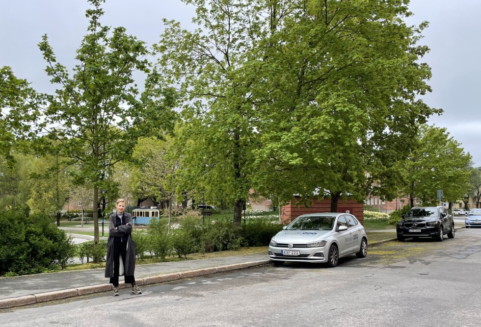 parkerade bilar vid svandammsparken