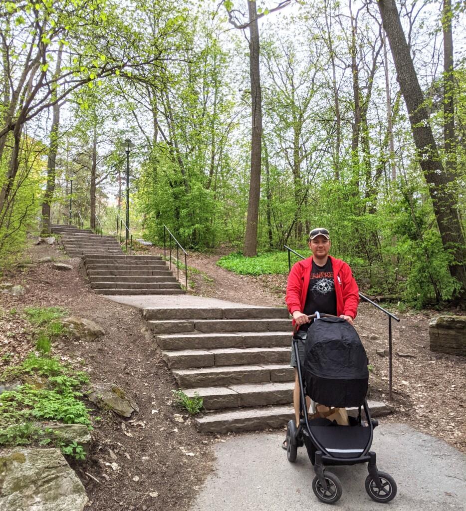 barnvagn trappor