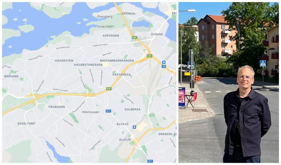 Karta över Hägersten-Älvsjö+Mats Falck