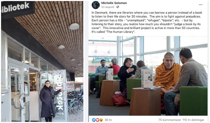 bibliotek plus kvinna