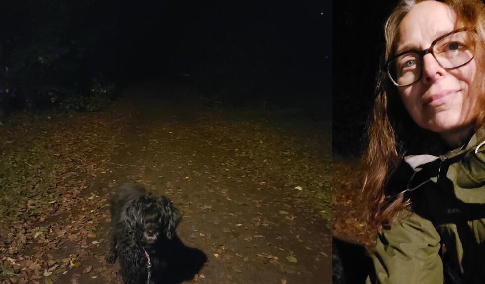 kvinna plus hund i mörker